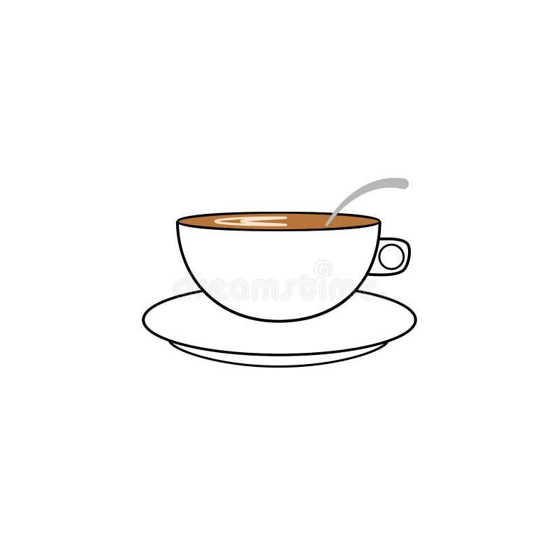 Teeschale lokalisiert auf weißem Hintergrund Becher heiße Kräutergetränke Frühstückszeit Flache Ikone des Vektors stock abbildung