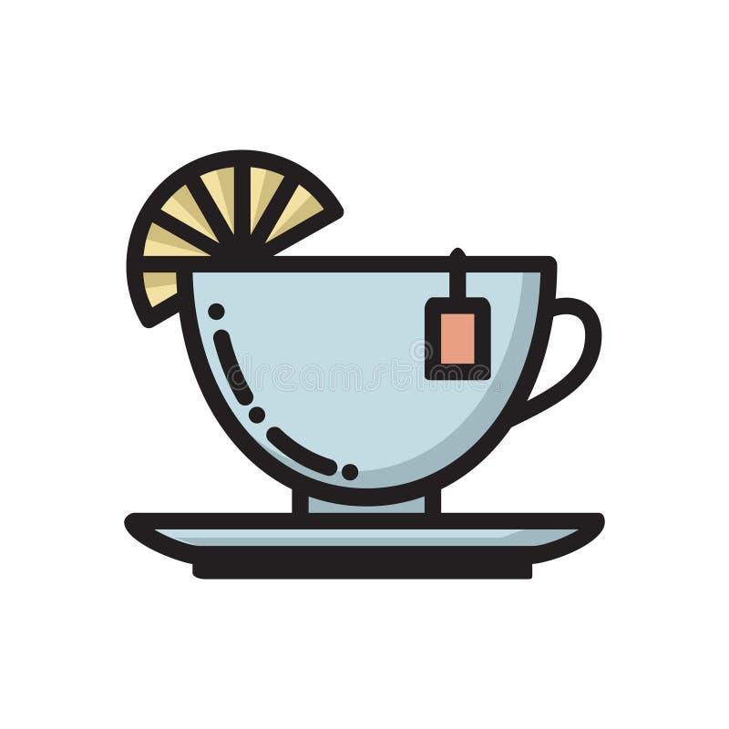 Teeschale mit Scheibe der Zitrone und Teebeutel beschriften Ikone lizenzfreie abbildung