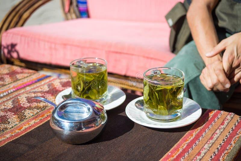 Teeschalen mit Koka verlässt Infusion bekannt als lizenzfreie stockfotografie