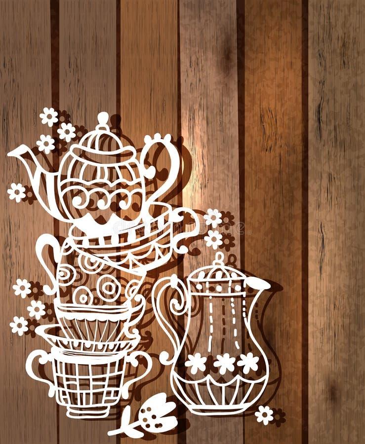 Teeschalenhintergrund mit Teekanne und Glas lizenzfreie abbildung