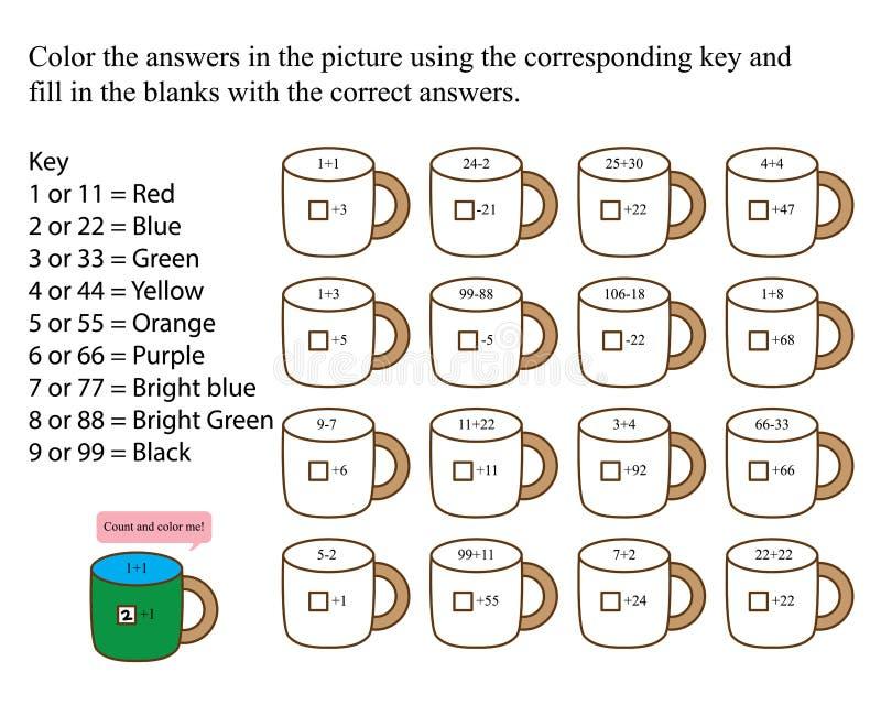 Teeschalenzählung und färben mich vektor abbildung