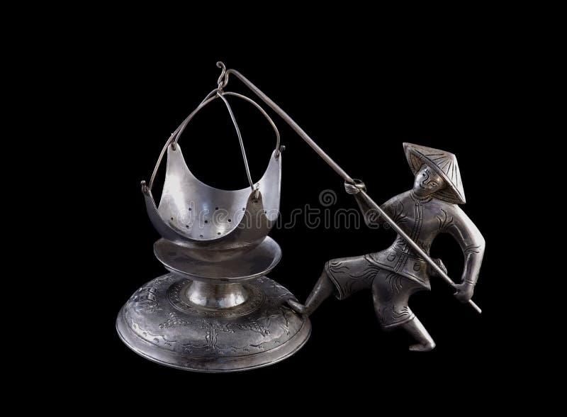 Teesieb u. x22; Fisherman& x22; , Vietnam, Silber lizenzfreie stockfotos