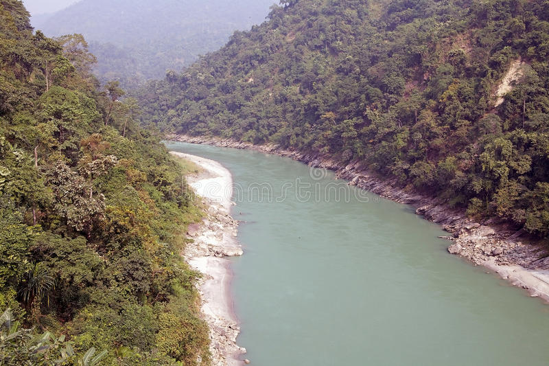 Teesta River, West Bengal, india. Teesta River valley, West Bengal, India. The rivers forms the border between Sikkim and west Bengal before joining the stock images