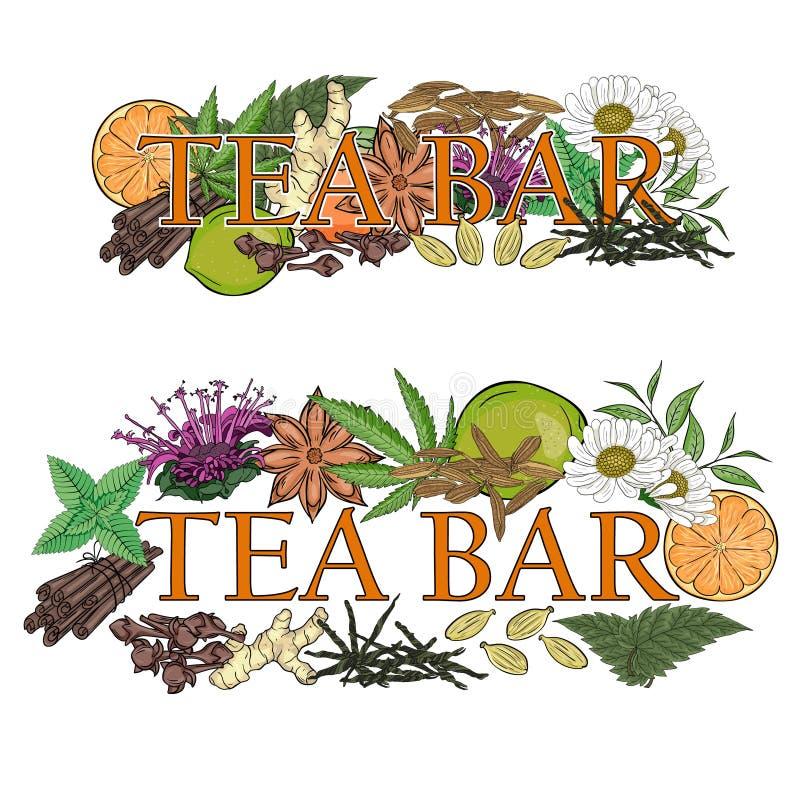 Teestange Illustration von Blumen, von Blättern und von Früchten für ein Teeba vektor abbildung