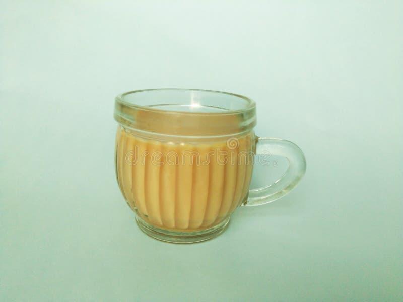 Teet hålls i en glass kopp på den vita bakgrunden fotografering för bildbyråer
