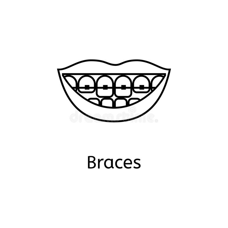 Teeth braces line icon isolated on white background. Teeth braces line icon for infographic, website or app. Smiling female lips with braces. Vector line icon royalty free illustration