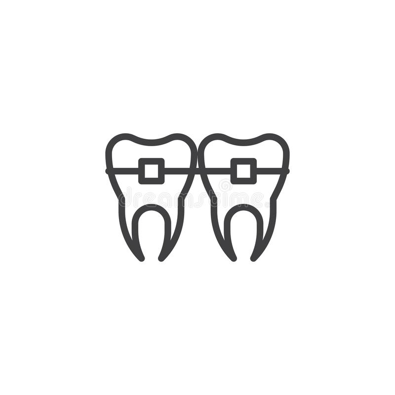 Teeth with brackets line icon stock illustration