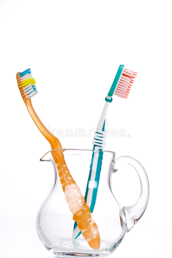 Teeth brushes. In the glass jag stock photo