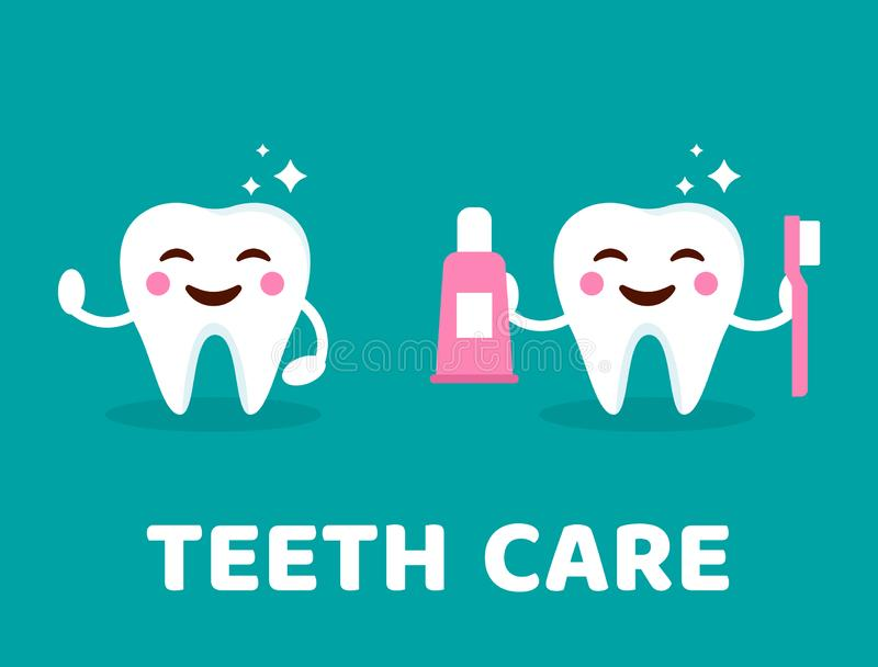 Teeth care concept. Healthy smiling tooth with toothbrush and toothpaste. Cute teeth with happy emoji. Tooth with shining effect. vector illustration
