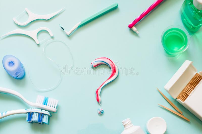 Teeth care frame concept with manual toothbrushes and oral hygiene products. Background stock images
