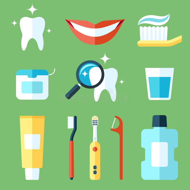 Teeth care. Vector set of teeth care icons. Flat style vector illustration