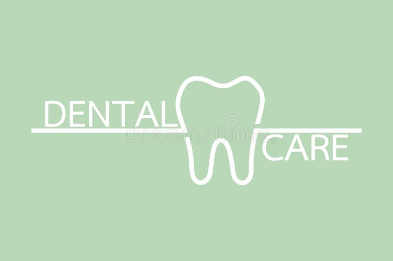 Healthy tooth with word isolated on green background. Teeth cartoon vector flat style for design - healthy tooth with word isolated on green background, dental royalty free illustration
