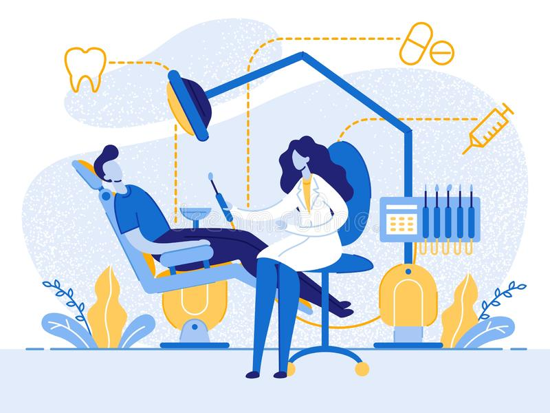 Checkup, Medical Examination at Dental Office. Teeth Checkup, Medical Examination Flat Cartoon Vector Illustration. Patient Sitting in Dental Chair and Woman stock illustration