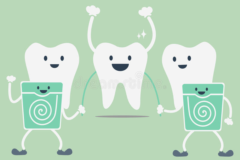 Teeth cleaning by dental floss. Dental cartoon vector, teeth cleaning by dental floss royalty free illustration