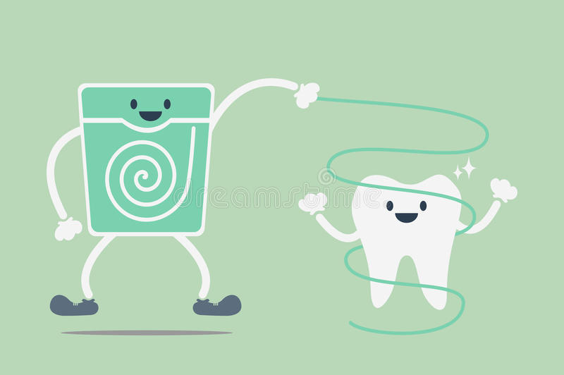 Teeth cleaning by dental floss. Dental cartoon vector, teeth cleaning by dental floss vector illustration