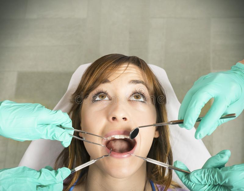 Teeth control. Girl from dentist for a teeth control royalty free stock photography
