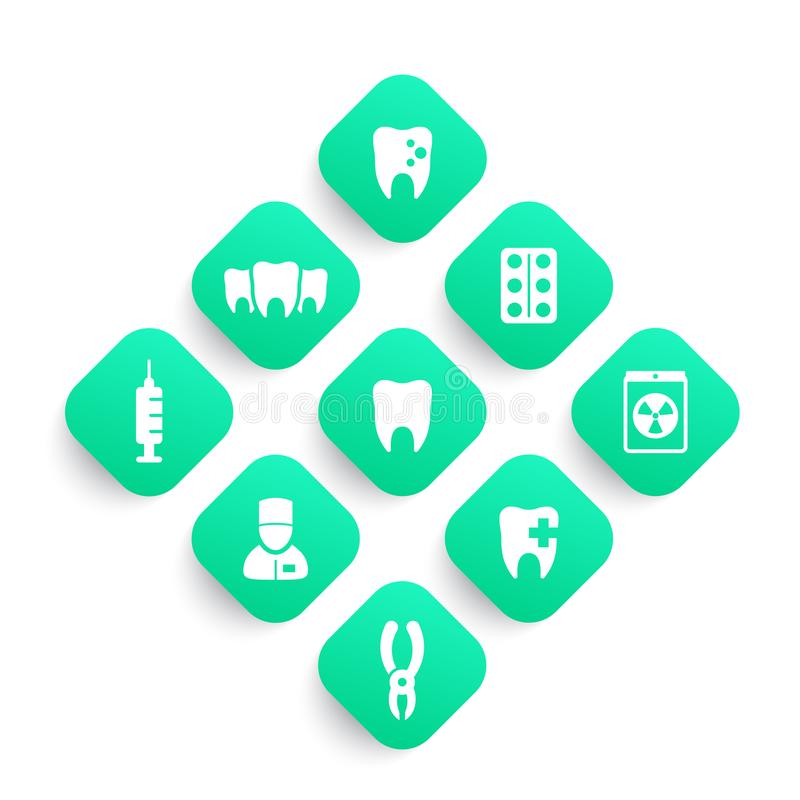 Teeth, dental care, dentist, stomatology icons set vector illustration