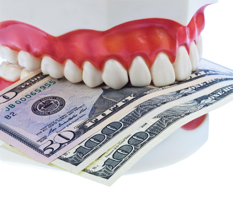Teeth and dollar royalty free stock photos