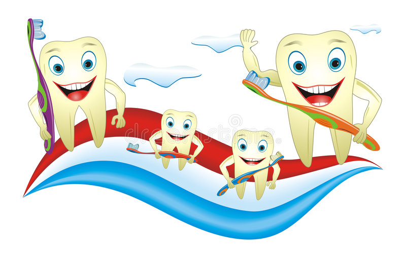Teeth Family With Toothbrush vector illustration