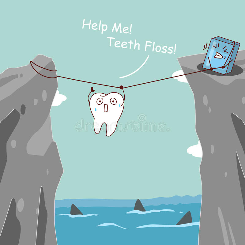 Teeth floss saving teeth. Cute cartoon teeth with floss, teeth floss helping teeth avoid danger royalty free illustration