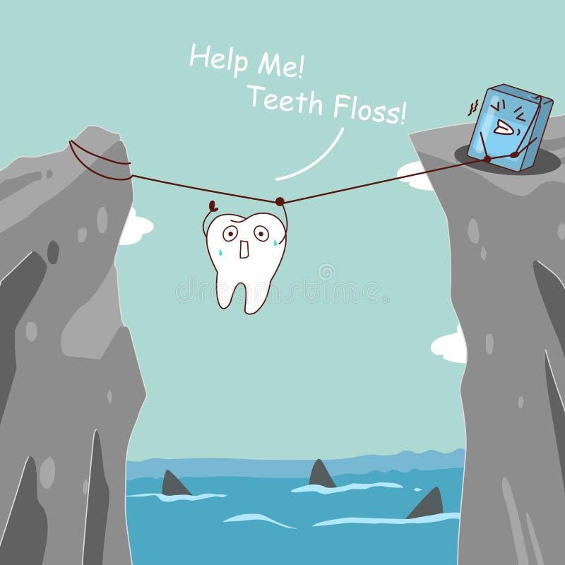 Teeth floss saving teeth royalty free illustration