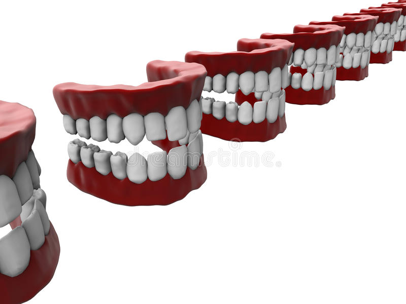 Teeth with gum in a line royalty free illustration
