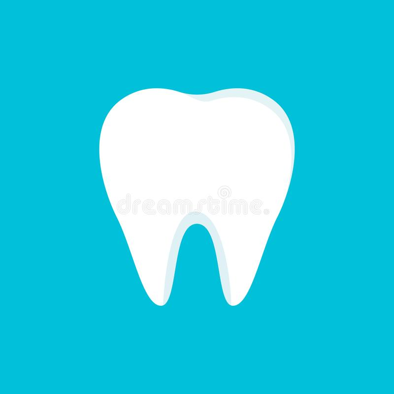 Teeth icon isolated on blue background. Clean tooth concept in flat style. Brushing teeth. Dental clinic design. Teeth symbol for royalty free illustration