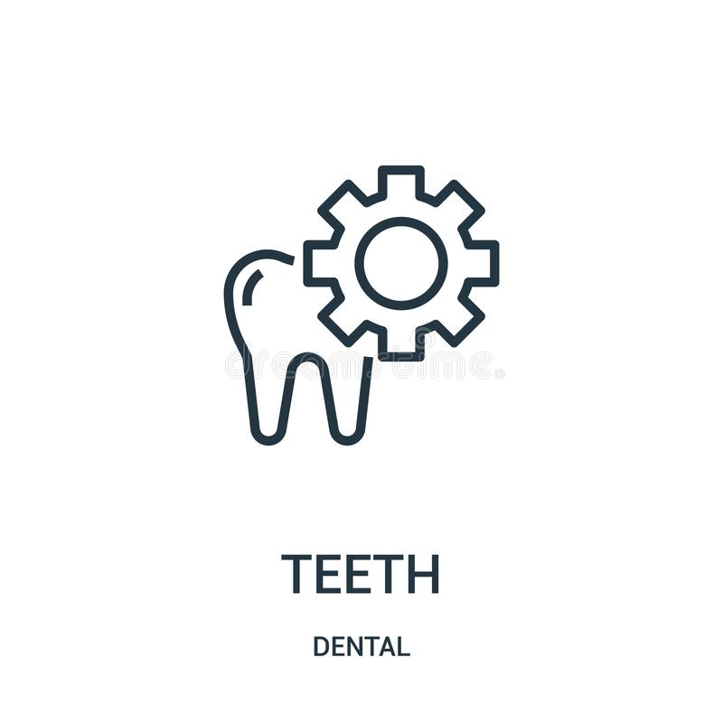 Teeth icon vector from dental collection. Thin line teeth outline icon vector illustration. Linear symbol. For use on web and mobile apps, logo, print media stock illustration