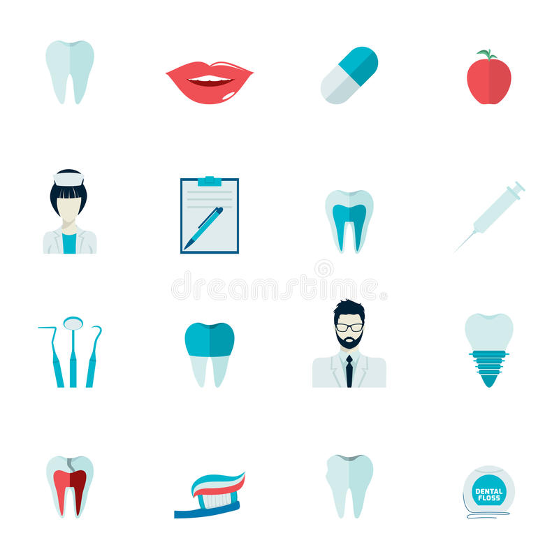 Teeth Icons Flat royalty free illustration