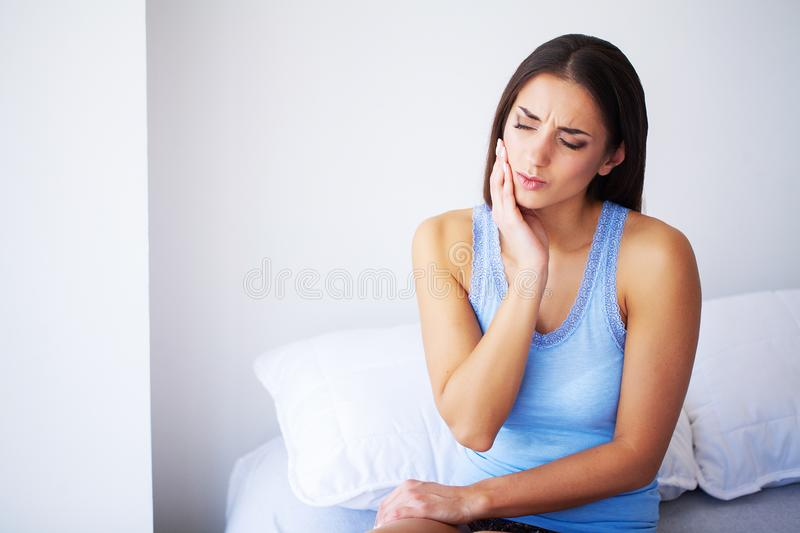 Teeth Pain. Beautiful Woman Suffering From Painful Toothache royalty free stock photos