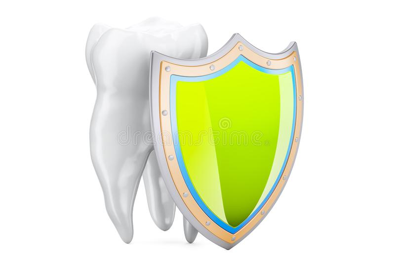 Teeth protection concept with shield, 3D rendering. Isolated on white background vector illustration