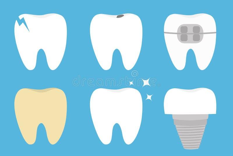 Teeth set. Cracked, broken, healthy yellow white ill tooth dental implant prosthesis, braces. Shining star. Cute cartoon kawaii stock illustration