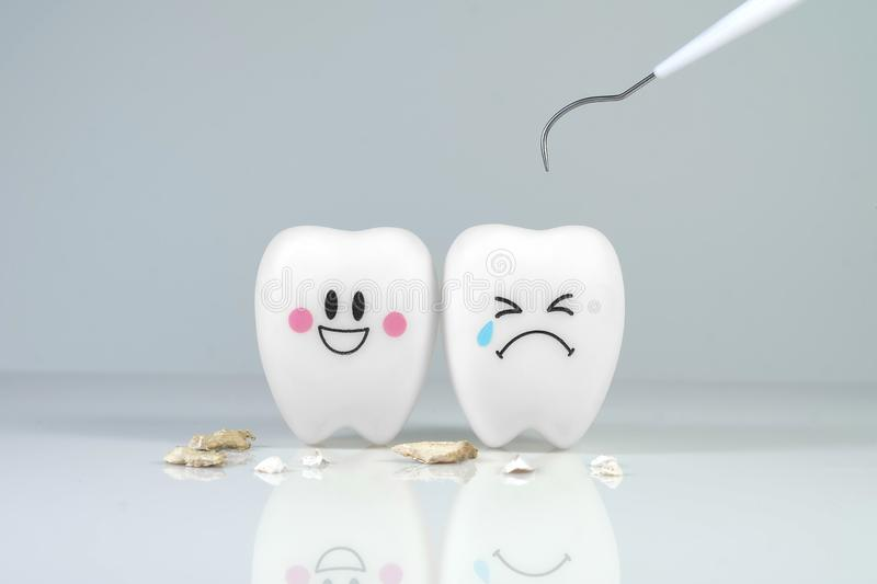 Teeth smile and crying emotion with dental plaque tool , royalty free stock images