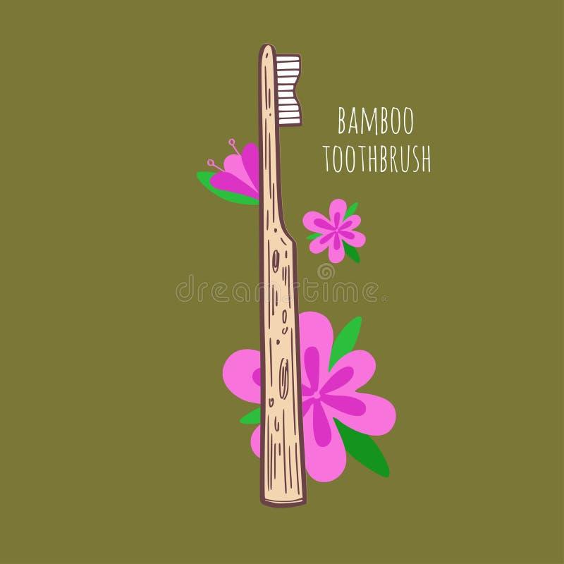 Teethbrush respetuoso del medio ambiente de bambú Ilustración drenada mano del vector Basura cero ilustración del vector