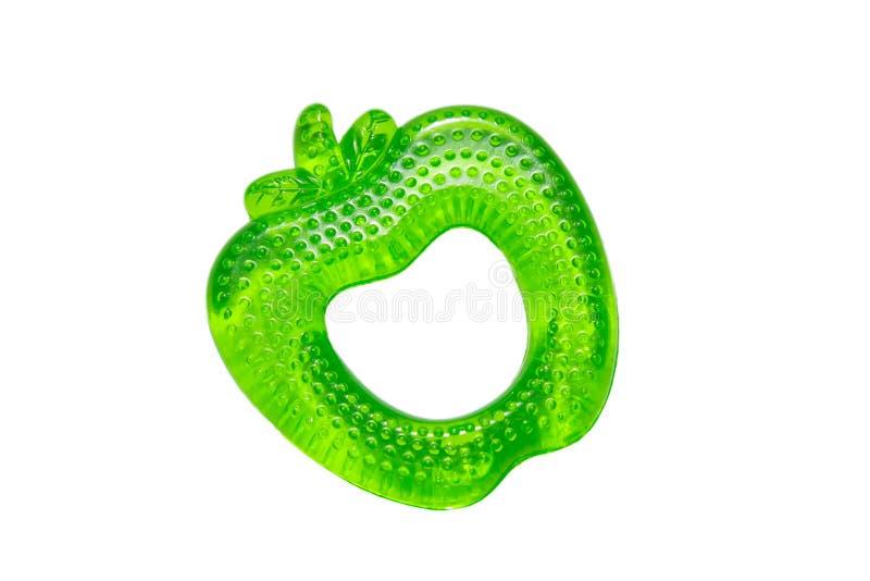 Teether для формы яблока зубов младенцев зеленой с охлаждающим действием стоковое изображение rf