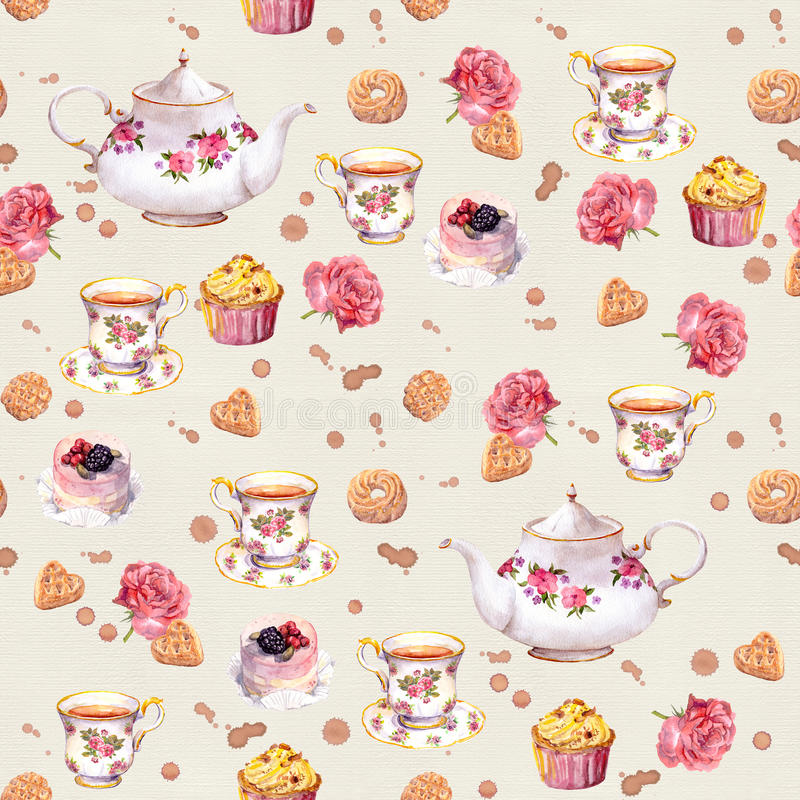 Teetopf, Teetasse, Kuchen, Blumen Wiederholte Zeittapete watercolor stockfoto