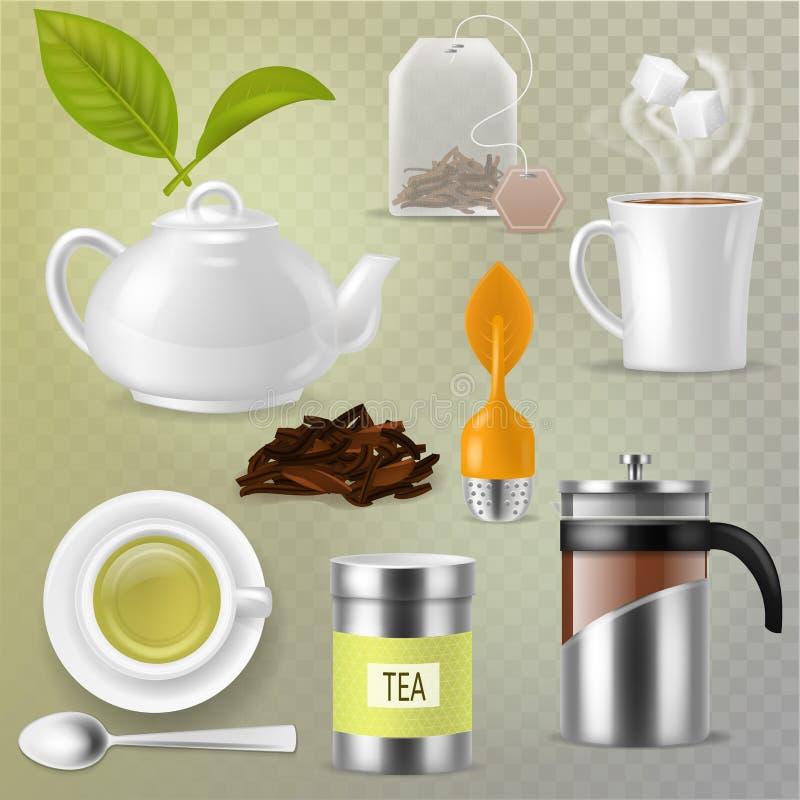 Teevektor-Getränk-Kräutergetränk mit trockenen Blättern in der Teeschale und in der Teekanne oder französischem presson Teatimeil vektor abbildung