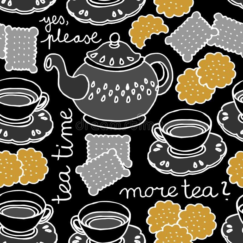 Teezeit auf Dunkelheit lizenzfreie abbildung
