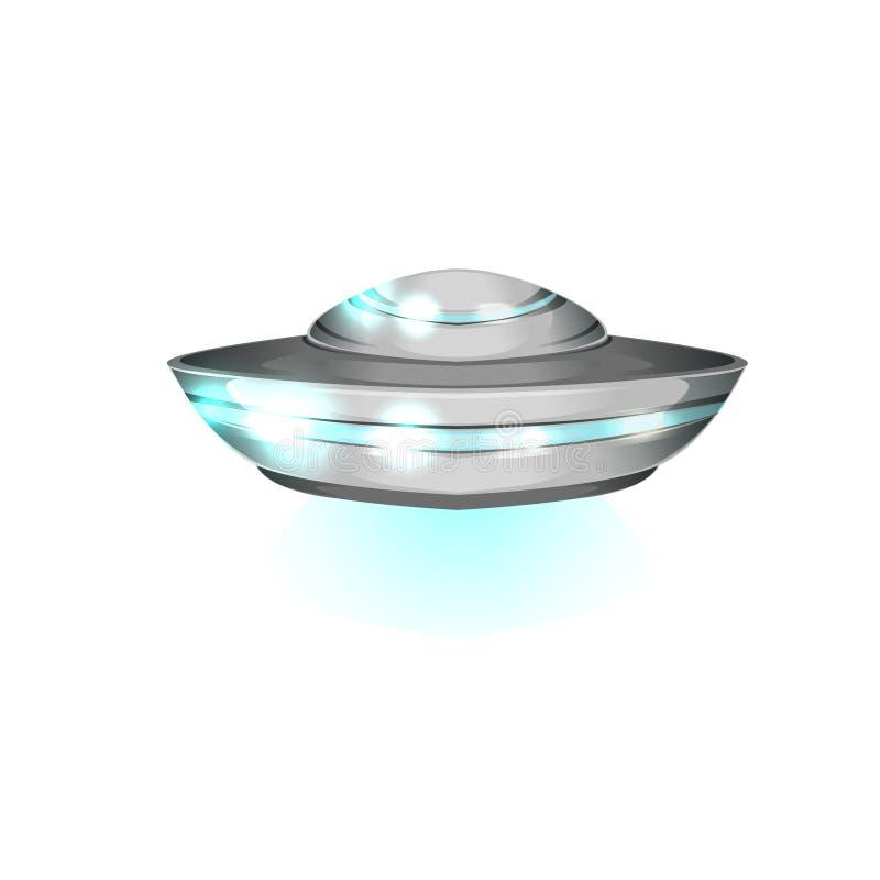Tefat format flyghantverk Futuristiskt utomjordiskt utrymmeskepp Detaljerad metallisk eller silverufo med blåa ljus vektor illustrationer
