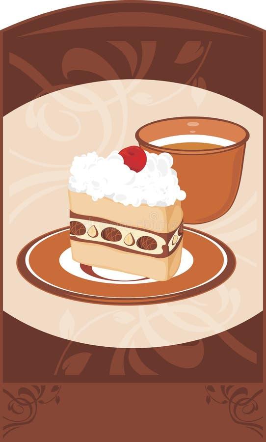 Tefat med kaka- och kaffekoppen på det dekorativt  vektor illustrationer