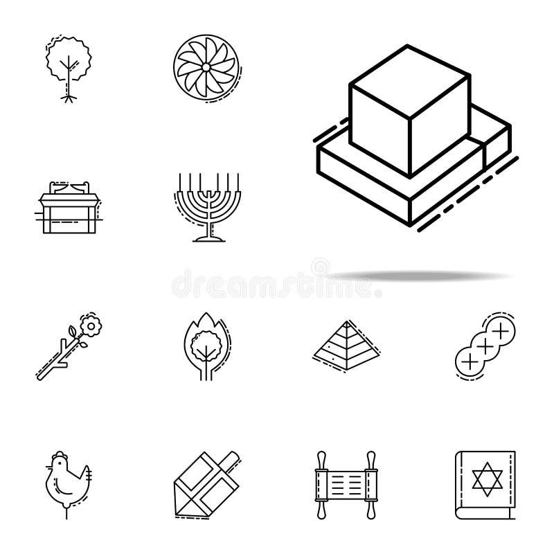 Tefillin symbol Universell uppsättning för judendomsymboler för rengöringsduk och mobil royaltyfri illustrationer