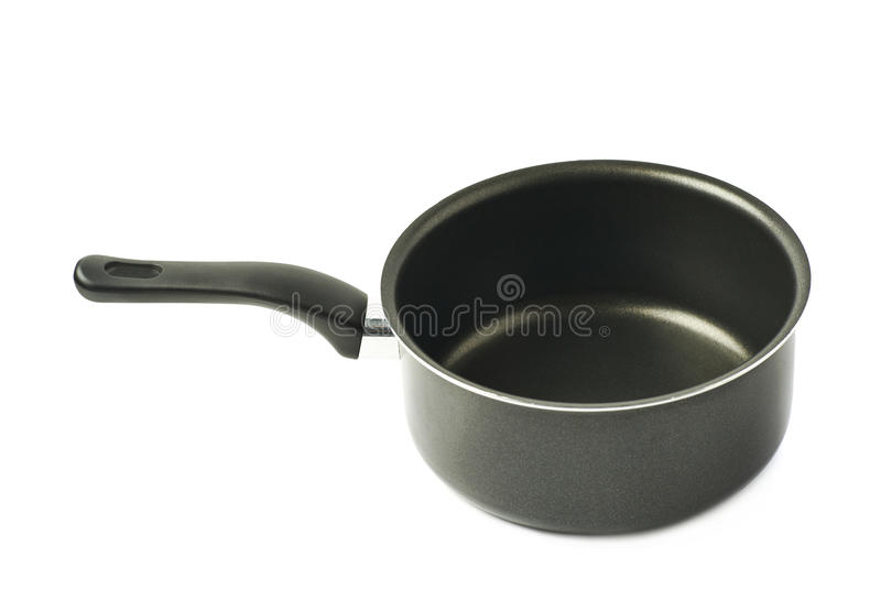 Teflon coated sauce pan isolated stock images