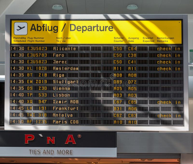 Tegel airport departure information display in Berlin, Germany royalty free stock images