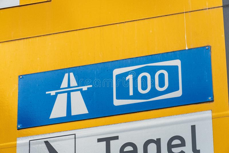 Highway and Tegel sign posts, Berlin. Tegel airport and Highway signposts vector illustration