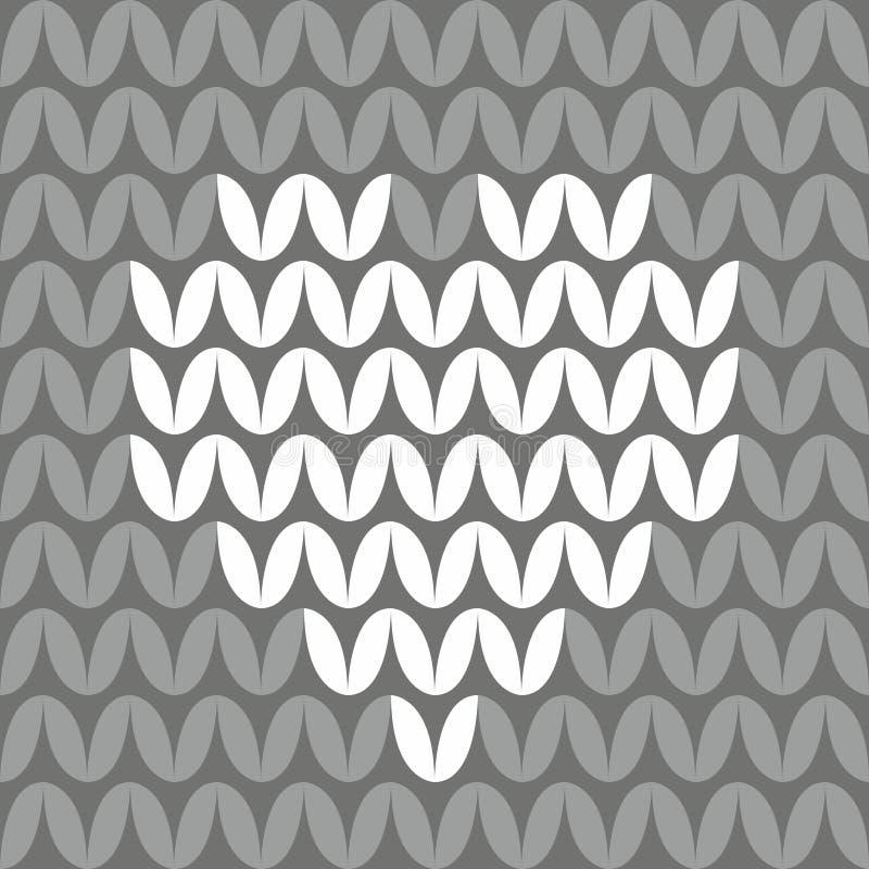 Tegel die vectorpatroon met wit hart op donkere grijze achtergrond breien vector illustratie