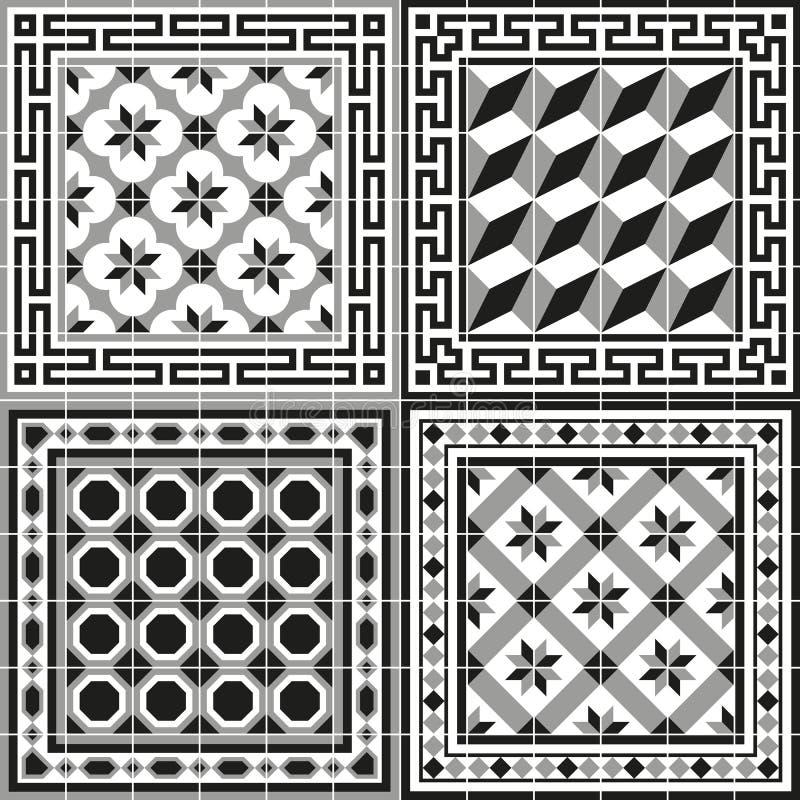 Tegel van de patroon de klassieke oude Europese traditionele vloer stock illustratie