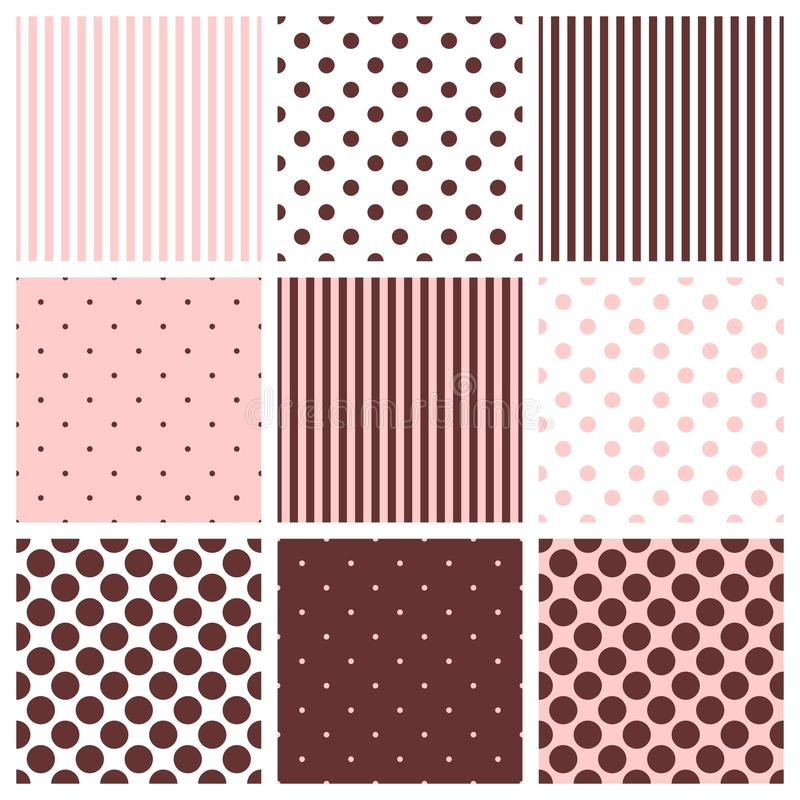 Tegel vectordiepatroon met stippen en strepen wordt geplaatst vector illustratie