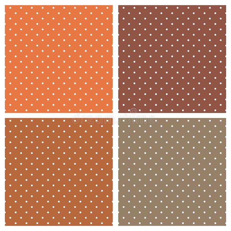Tegel vectordiepatroon met witte stippen op oranje en bruine achtergrond wordt geplaatst stock illustratie