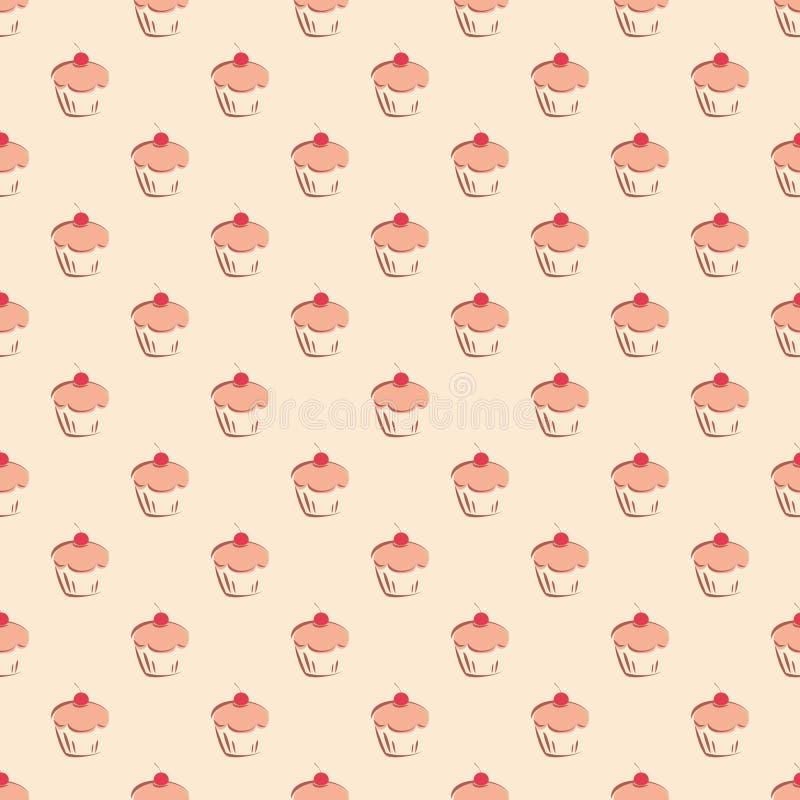 Tegel vectorpatroon met cupcakes op pastelkleurachtergrond vector illustratie