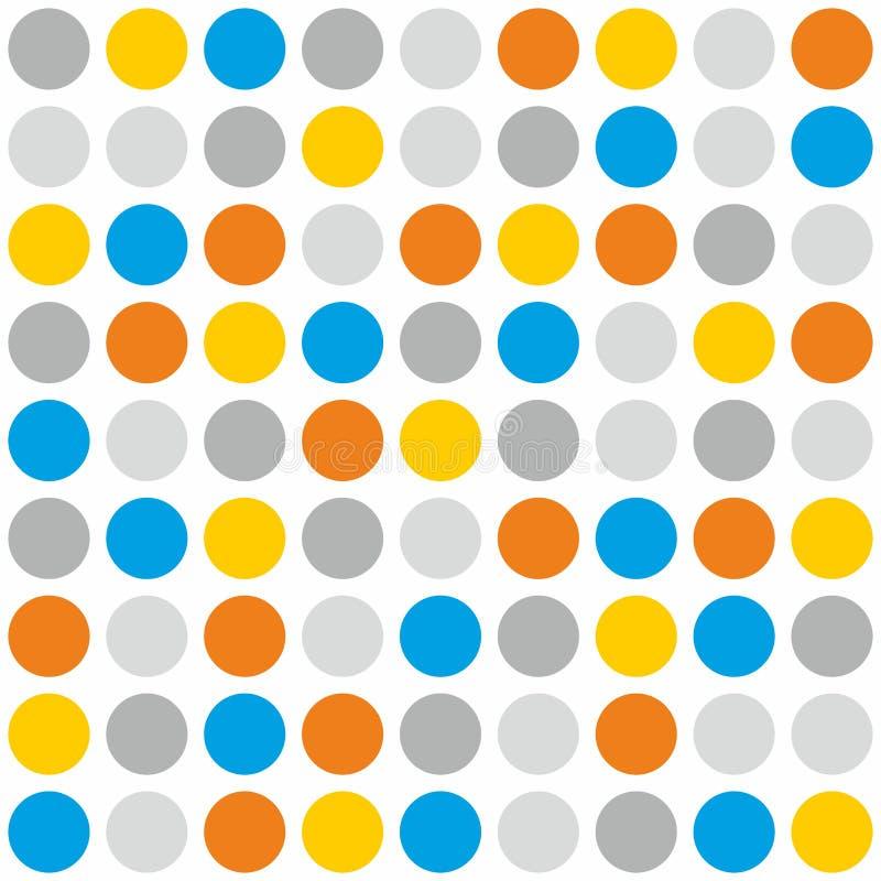Tegel vectorpatroon met grijze, blauwe, oranje en gele stippen op witte achtergrond royalty-vrije illustratie